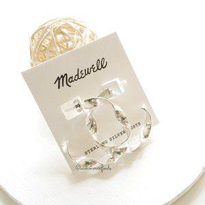 Madewell Ribbon Hoop Earrings Light Silver Ox